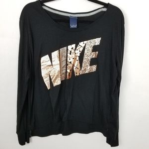 Nike Gold Foil Long Sleeve Scoop Neck T-Shirt M